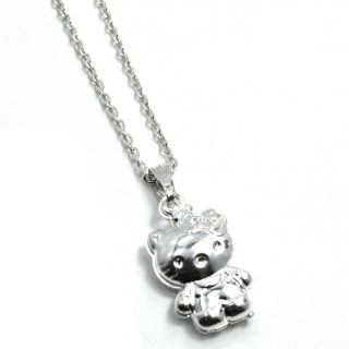 Sterling Silver Filled 925 Hello Kitty 3D Pendant Charm & Chain Girl