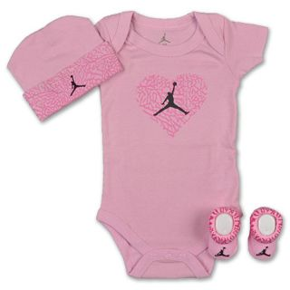 BABY AIR JORDAN ELEPHANT PINK HEART 3 PIECE INFANT JERSEY ONESIE SET