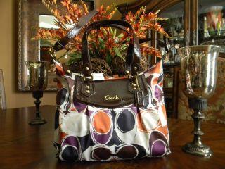 100 Coach Ashley Hand Drawn Multicolor Scarf Print Shoulder Handbag