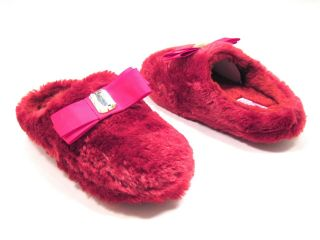 New Personal Identity Womens 6 10 Jammies Fur Scuff Slippers Red