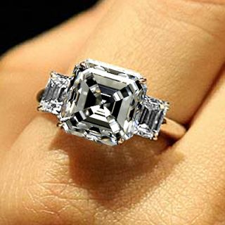 VVS1 VVS2 Asscher Cut Diamond Three 3 Stone Bridal Ring 18k Certified