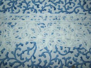 VALANCE BATTENBURG LACE BLUE & WHITE Lace Cotton Window Treatment