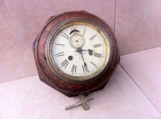 RARE Antique Ansonia Train Station Wood Wall Clock
