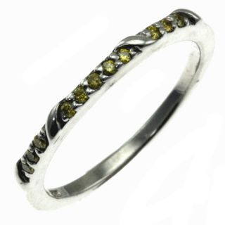 sterling silver yellow diamond band style ring