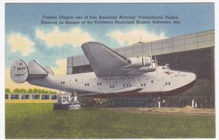 Baltimore MD Yankee Clipper Pan American Airways Linen Postcard