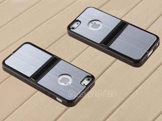 Silver Brushed Metal Chrome Hard Aluminum Case Cover Stand for iPhone