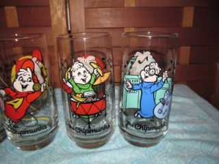 1985 LOT OF FOUR CHIPMUNKS ALVIN/SIMON/THEODORE//CHIPETTES DRINKING