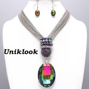 chunky aurora borealis glass layered silver chain necklace set elegant