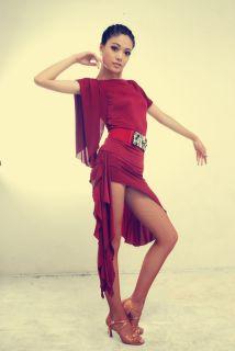 Woman Latin Ballroom Dance Dress Top Skirt Set Competition Dance