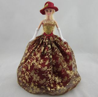 Gold Red Princess Barbie Dress Gown Outfit Clothes Barbie Dolls