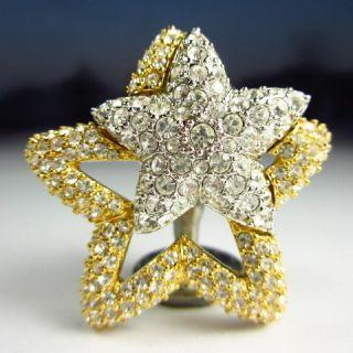 Signed BARBARA MANDRELL Sparkling RHINESTONE STAR Brooch Pin