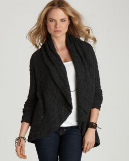 Autumn Cashmere New Gray Cable Knit Eyelet Pointelle Drape Cardigan