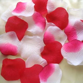 1200pcs mixed Red/white silk rose petals for wedding party 2X2