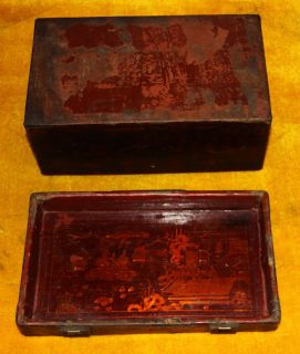 Wonderful Amazing Old Antique Chinese Lacquerwork Painted Wooden Box