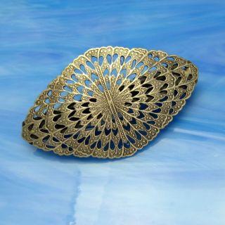 Vintage Large Embossed Oval Hair Barrette Nice Detail Silvertone Metal