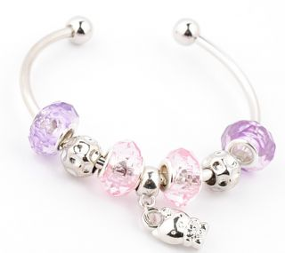 HANDMADE lampwork crystal silver European beaded charm bangle bracelet