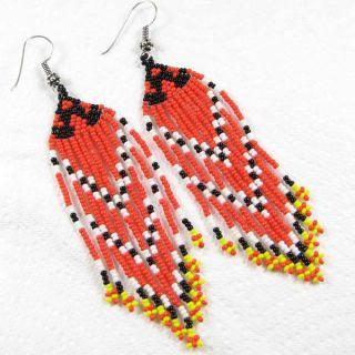 Coral Red Black White Yellow Beaded Earrings Handmade