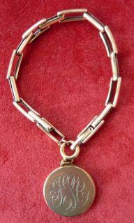 Art Deco 9CT Gold Silver 2 Picture Locket Charm Bracelet ESTATE