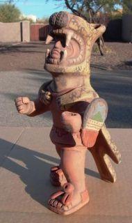 AZTEC mayan red clay southwest Mexican folk art statue leopard warrior