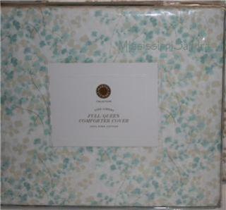 Martha Stewart Maidenhair Fern Full Queen Duvet Cover Aqua White Khaki