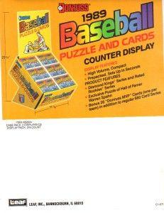 1989 Donruss Baseball Puzzle and Cards Counter Display Ad Promo Sheet