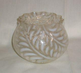 Antique Beaumont Glass c1890 Fern Opalescent Rose Bowl