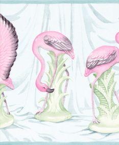 Pink Flamingos Tropical Bath Room Wallpaper Border Wall