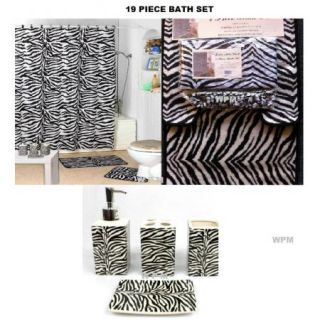 19 Piece Bath Accessory Set Black Zebra Printed Bathroom Rugs Shower