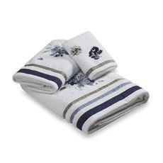 Croscill WATERCOLOR FLORAL Bath Towel White w/ Violet Blue Flowers NWT