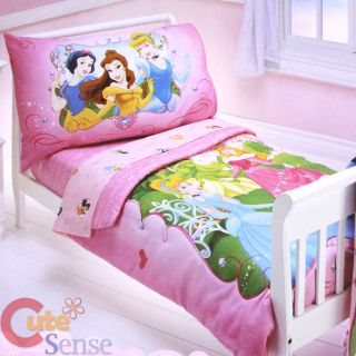 Disney Princess Toddler Bedding Set   4pc Microfiber Bed Set