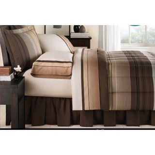 New Brown Tan Striped Boys Bed in A Bag Bedding Set