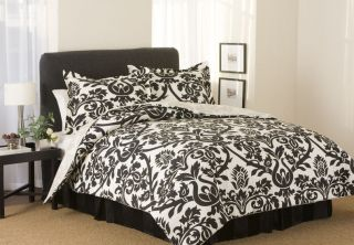 Chic Queen Black Off White Damask Comforter Bed in Bag