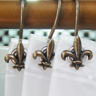 12pcs New Antique Bronze Anchor Shower Bath Curtain Rings Hooks Anti