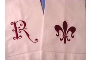 Monogrammed Personalized Linen Guest Bath Kitchen Towel