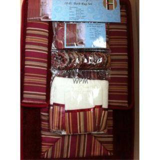 18 PC Bathroom Rug Set Red Bath Rugs Shower Curtain Rings Towels