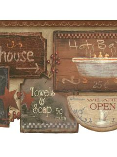 Rustic Bath Signs Wallpaper Border, JN1848B country bathroom
