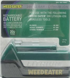 weedeater 20v lithium ion rechargeable battery bnib