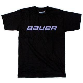 Bauer Logo Tee Black w Purple Print Sizes M XXL