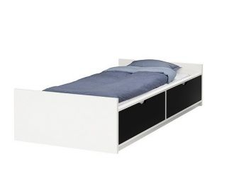 Contemporary IKEA ODDA Bed frame with drawers Twin size 2 beds in one