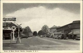 Baxley GA RR Railroad Train Crossing Street Scene Old Cars Old