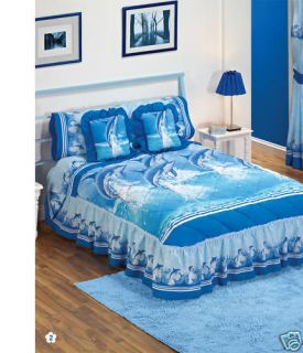 New Blue Dolphins Bedspread Bedding Set Twin Curtains