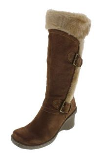 Bare Traps New Cathy Taupe Suede Faux Fur Lined Mid Calf Boots Wedges