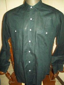 Ike Behar Black Linen Cotton Blend Dress Shirt Large