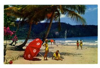 Beach on Maracas Bay Port of Spain Trinidad Postcard Pan American