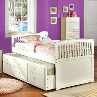 Solid Wood Bella Twin Size Captain Bed Frame with Trundle Set