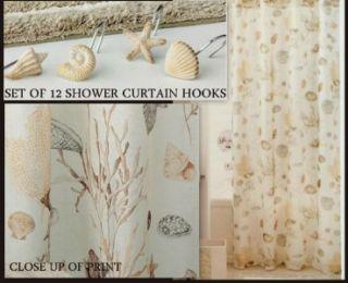 Croscill Antigua Ocean Beach Seashell Shower Curtain Hooks Set