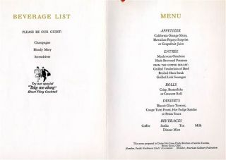 united airlines the red carpet first class menu