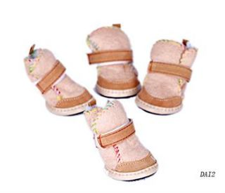 Winter Beige Warm Cozy Pet Dog Snow Boots Shoes For Small Dog SIZE #4