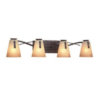New 4 Light Rustic Bathroom Vanity Lighting Fixture Iron Bronze