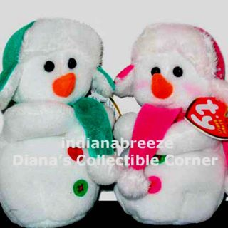 MS SNOW Snowman Set of 2 Ty Beanie Baby Babies NEW Retired MINT TAGS